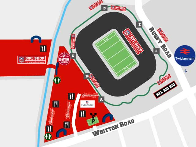 Twickenham Tailgate Party Karte map Attraktionen