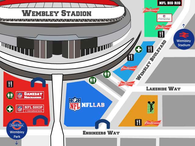 NFL London Wembley Stadion Tailgate Party Map