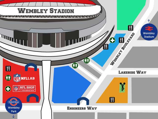 NFL London Wembley tailgate party 2017 map