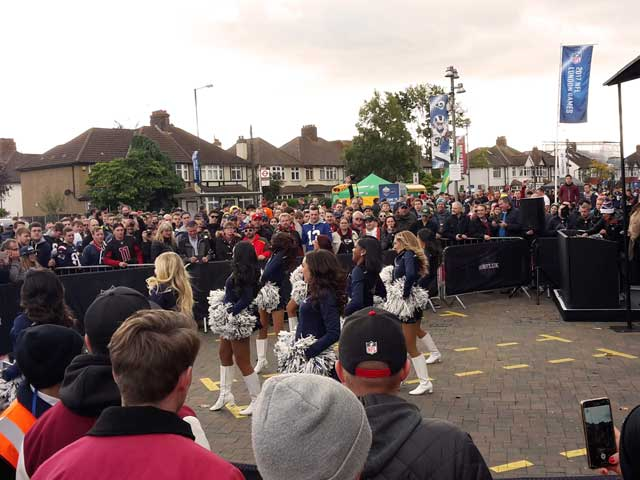 NFL London Tailgate Party Cheerleader Performance
