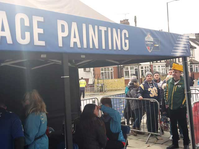 NFL London Tailgate Party Face Painting